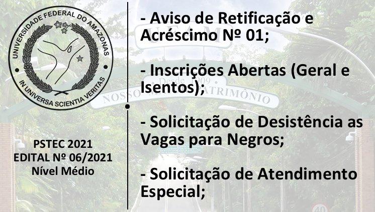 PSTEC - Edital 06/2021 - Novos Informes