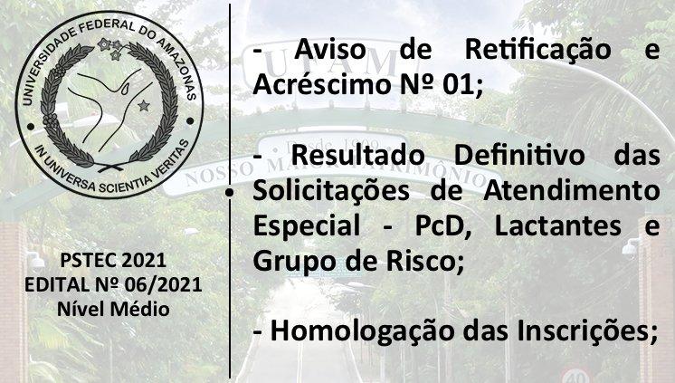 Aviso de Retificação 01 - Edital 06/2021