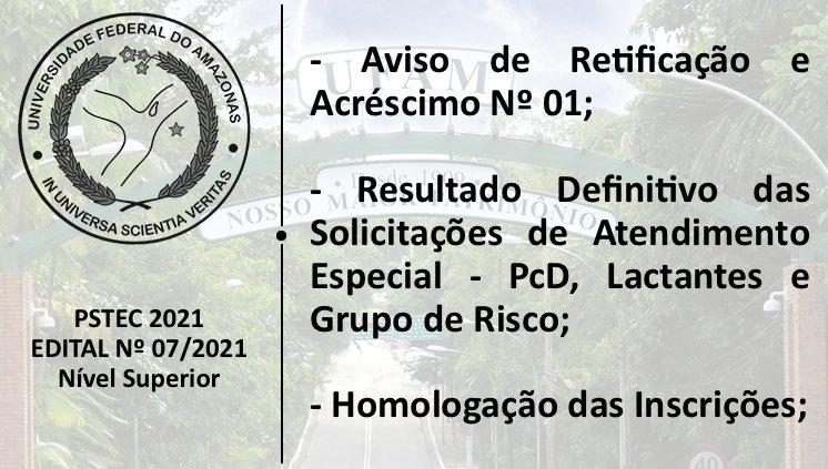 Aviso de Retificação 01 - Edital 07/2021
